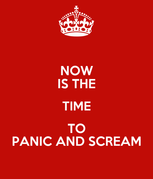 NOW IS THE TIME TO PANIC AND SCREAM