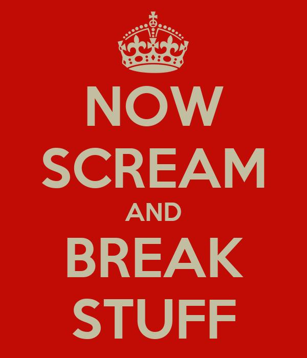 NOW SCREAM AND BREAK STUFF