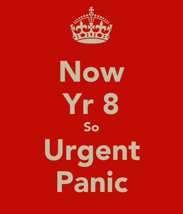 Now Yr 8 So Urgent Panic