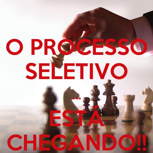 O PROCESSO SELETIVO ... ESTÁ CHEGANDO!!