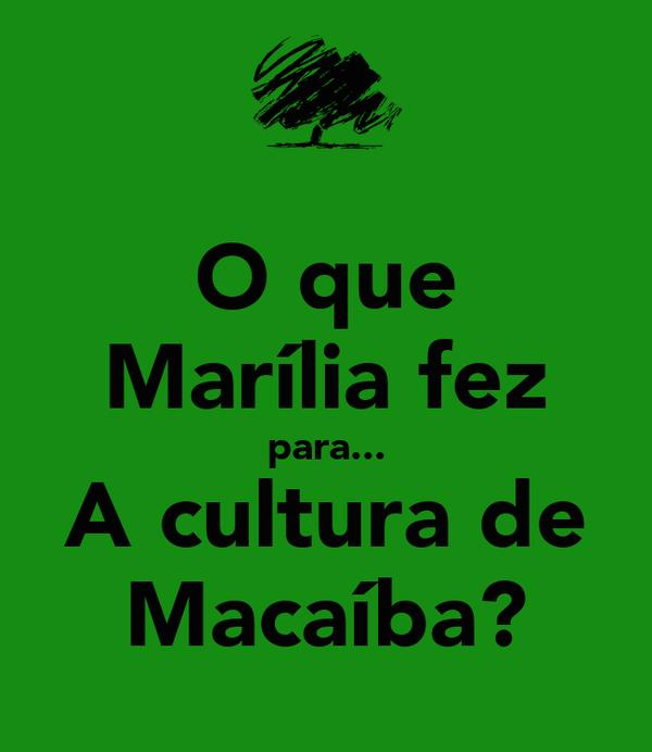 O que Marília fez para... A cultura de Macaíba?
