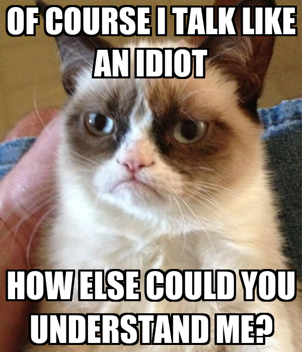 OF COURSE I TALK LIKE AN IDIOT HOW ELSE COULD YOU UNDERSTAND ME?
