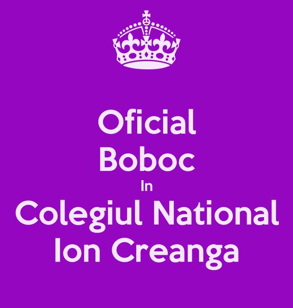Oficial Boboc In Colegiul National Ion Creanga