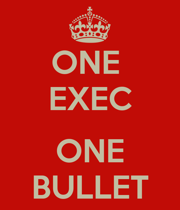 ONE  EXEC  ONE BULLET