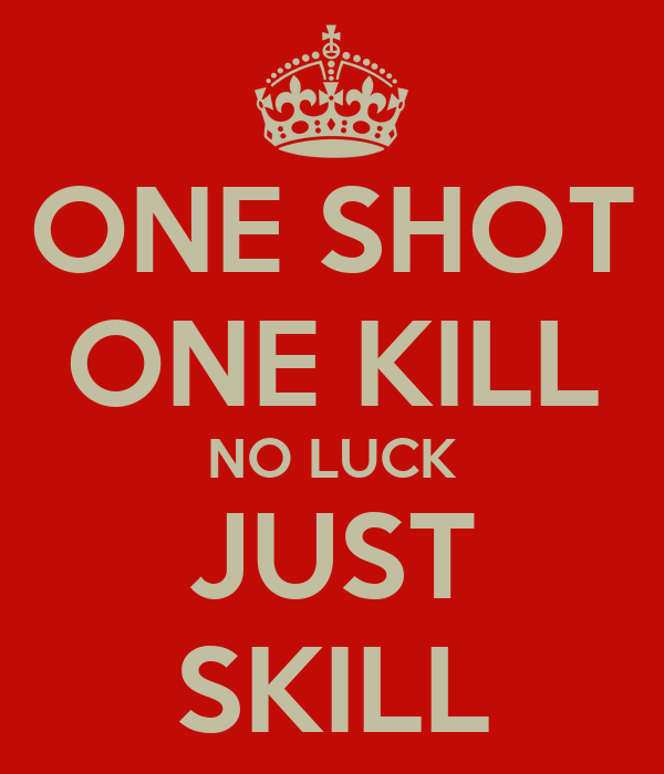 ONE SHOT ONE KILL NO LUCK JUST SKILL