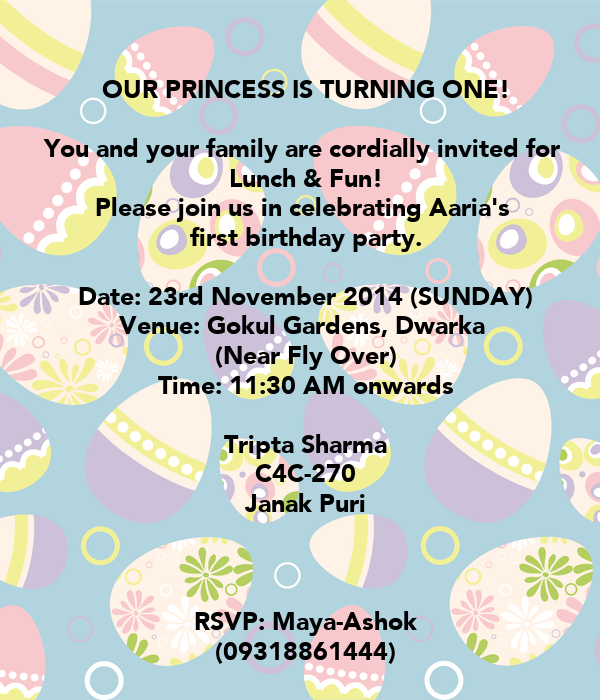 Our princess is turning one you and your family are cordially you and your family are cordially invited for lunch filmwisefo