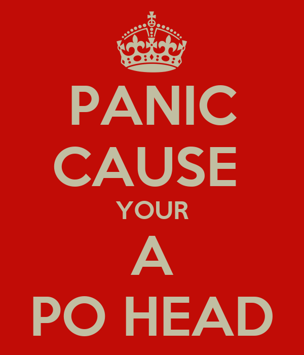 PANIC CAUSE  YOUR A PO HEAD