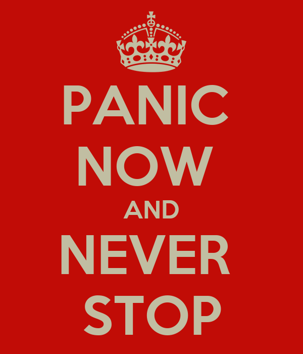 PANIC  NOW  AND NEVER  STOP