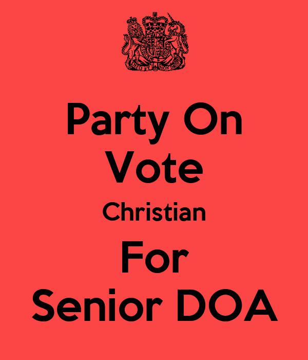 Party On Vote Christian For Senior DOA