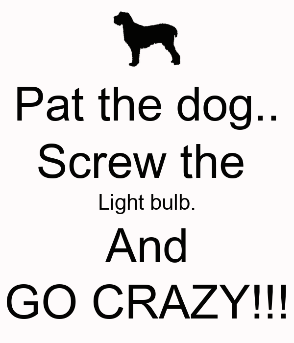 Pat the dog.. Screw the  Light bulb. And GO CRAZY!!!