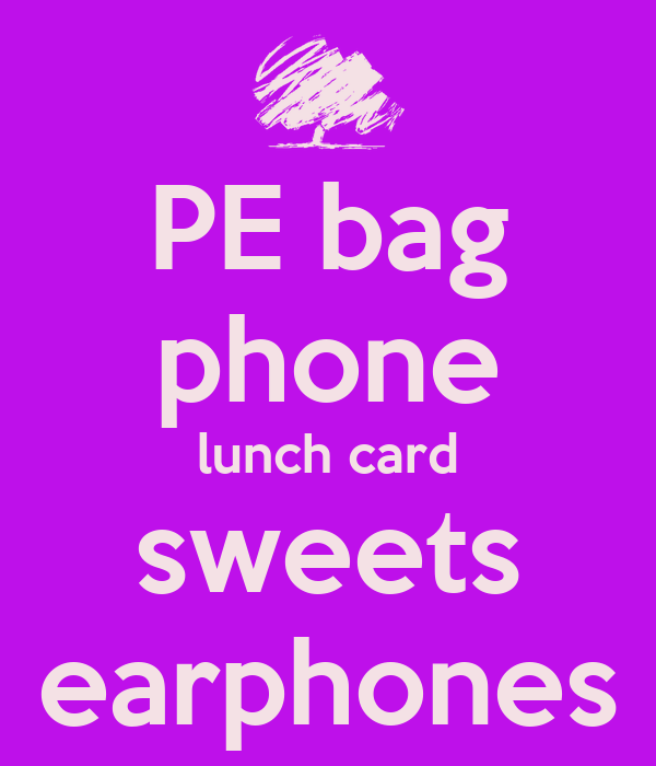 PE bag phone lunch card sweets earphones