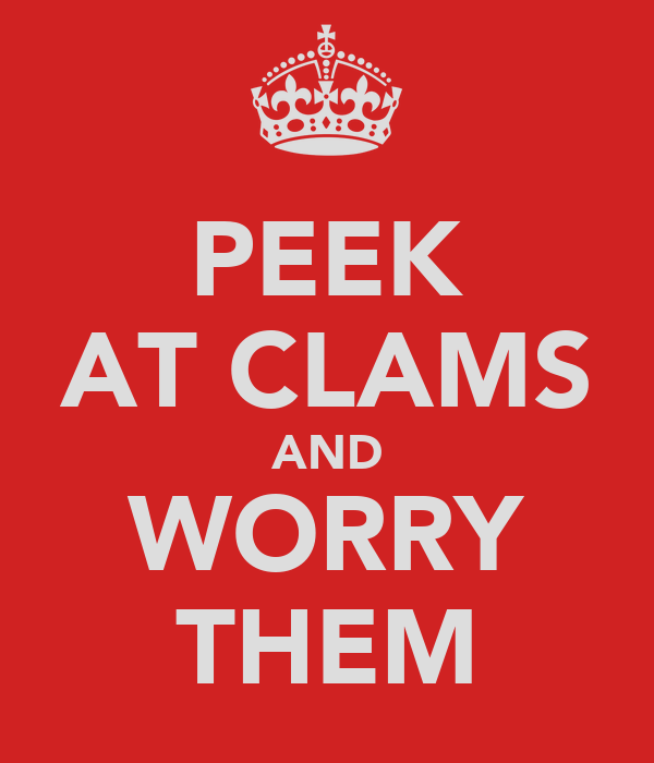 PEEK AT CLAMS AND WORRY THEM