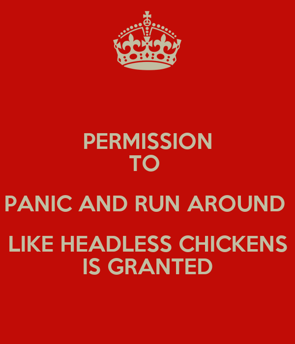 PERMISSION TO  PANIC AND RUN AROUND  LIKE HEADLESS CHICKENS IS GRANTED