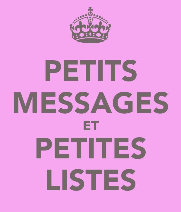 PETITS MESSAGES ET PETITES LISTES