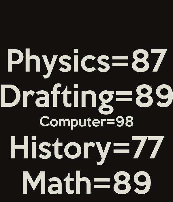 Physics=87 Drafting=89 Computer=98 History=77 Math=89