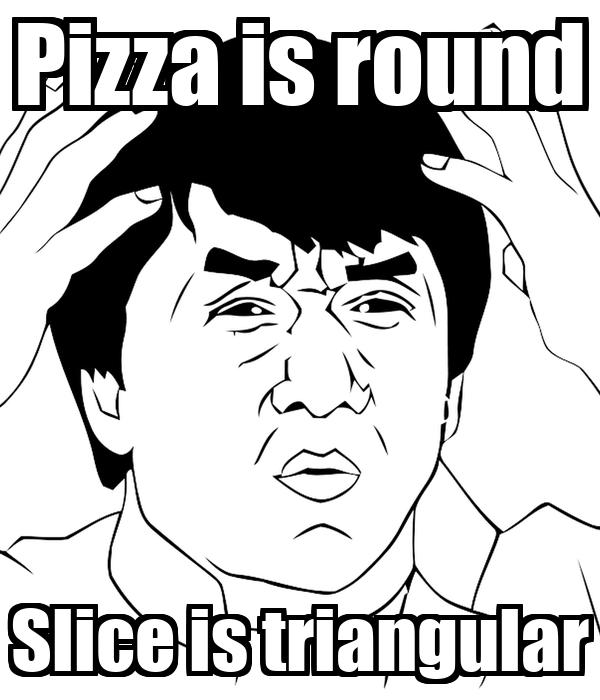 Pizza is round Slice is triangular