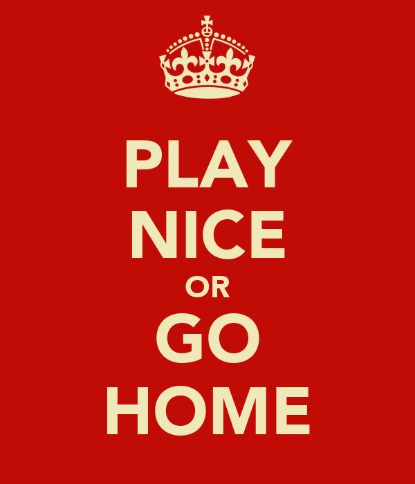 PLAY NICE OR GO HOME