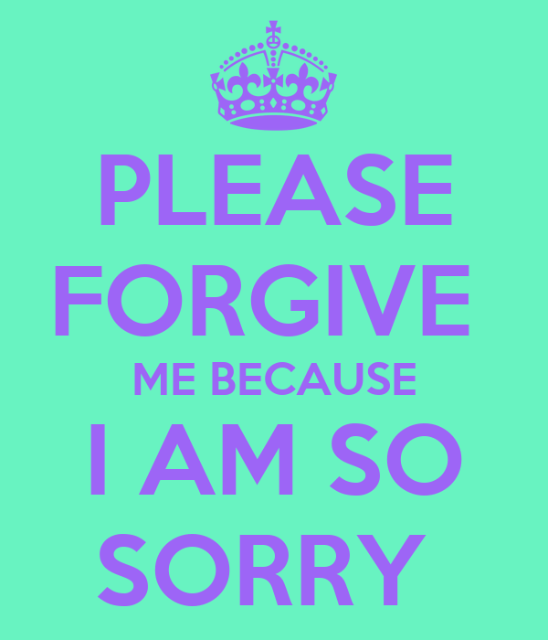 PLEASE FORGIVE  ME BECAUSE I AM SO SORRY