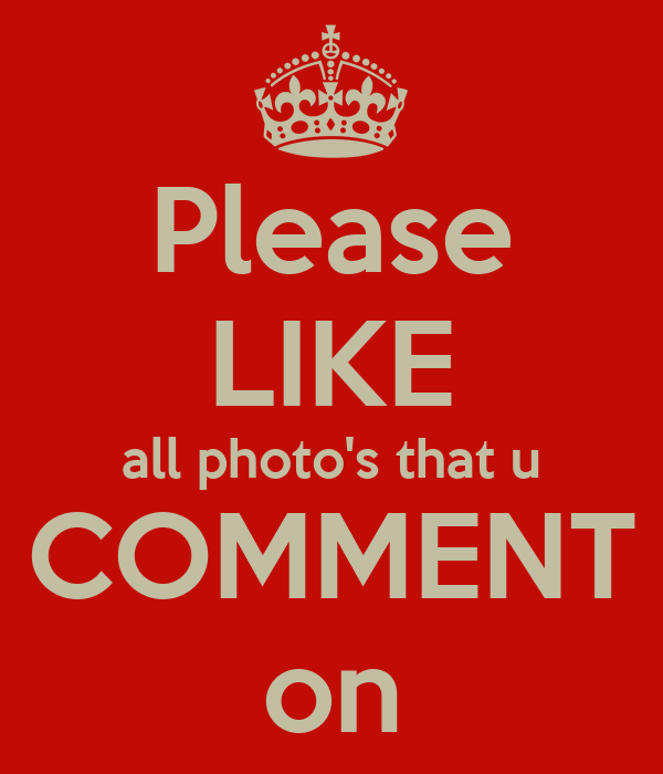 Please LIKE all photo's that u COMMENT on