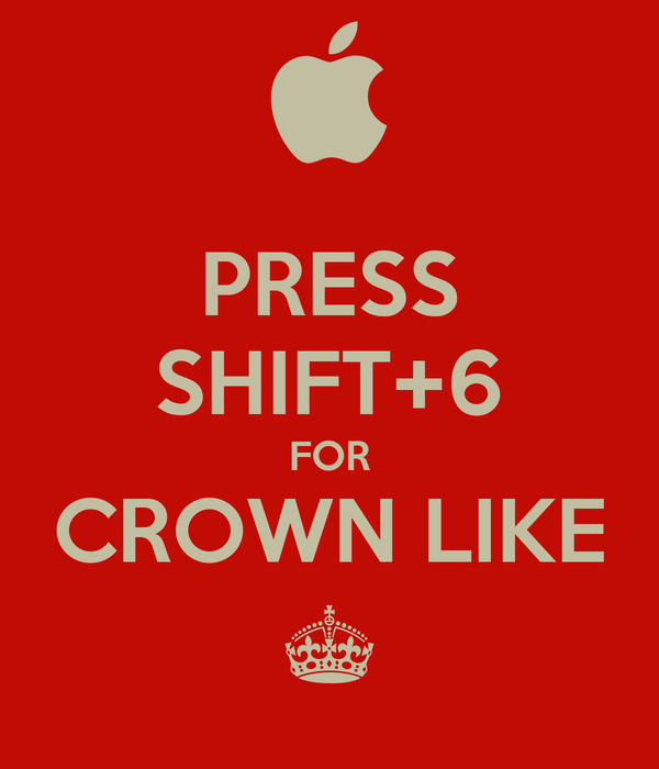 PRESS SHIFT+6 FOR CROWN LIKE ^