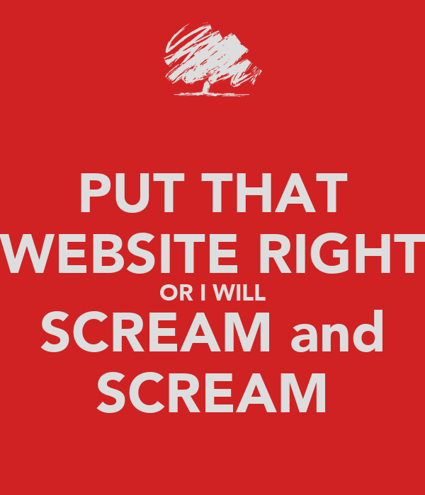 PUT THAT WEBSITE RIGHT OR I WILL SCREAM and SCREAM