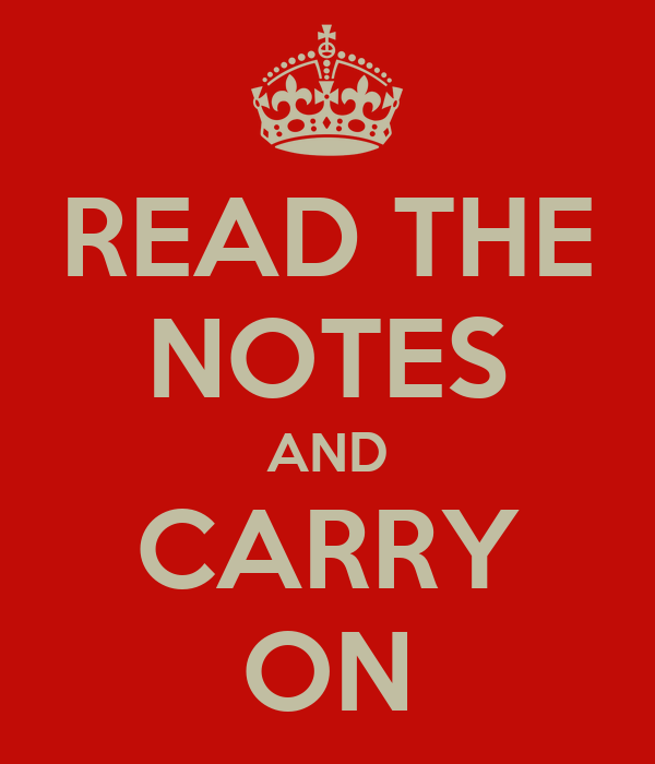 READ THE NOTES AND CARRY ON