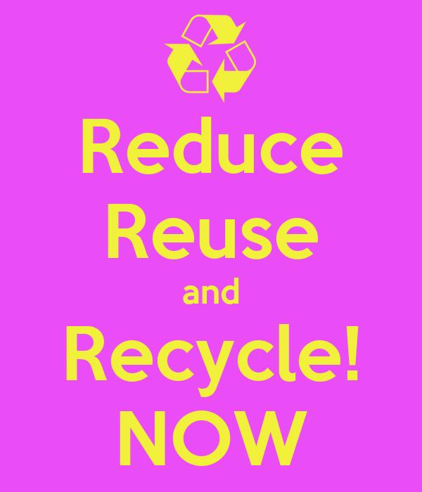 Reduce Reuse and Recycle! NOW