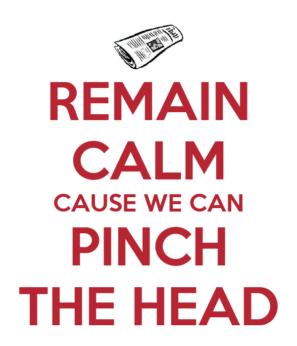 REMAIN CALM CAUSE WE CAN PINCH THE HEAD
