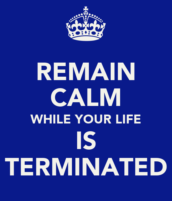 REMAIN CALM WHILE YOUR LIFE IS TERMINATED