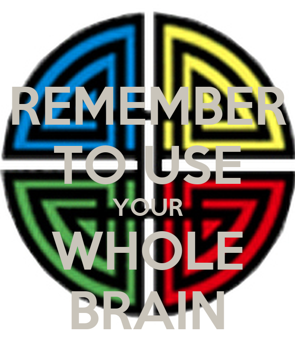REMEMBER TO USE YOUR WHOLE BRAIN