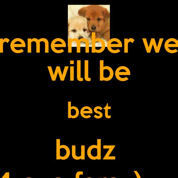 remember we will be best budz  4 eva fam :) -_-