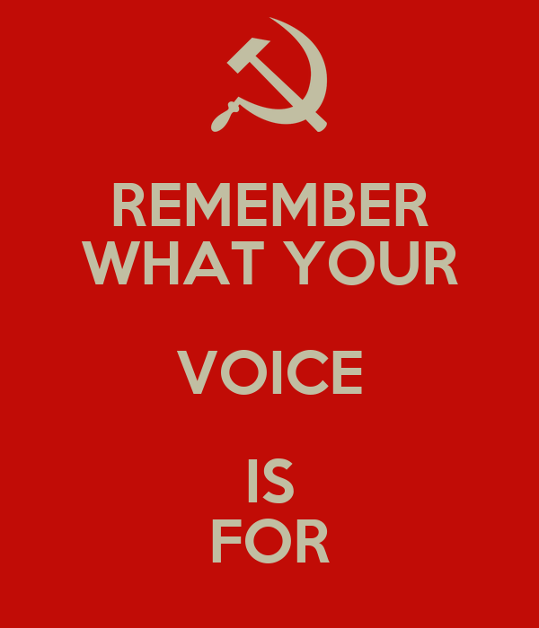 REMEMBER WHAT YOUR VOICE IS FOR