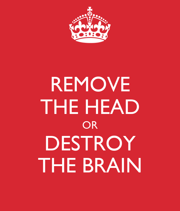REMOVE THE HEAD OR DESTROY THE BRAIN