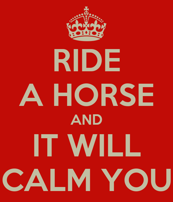 RIDE A HORSE AND IT WILL CALM YOU