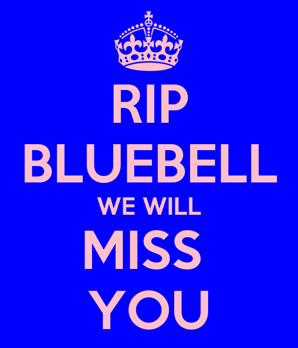 RIP BLUEBELL WE WILL MISS  YOU