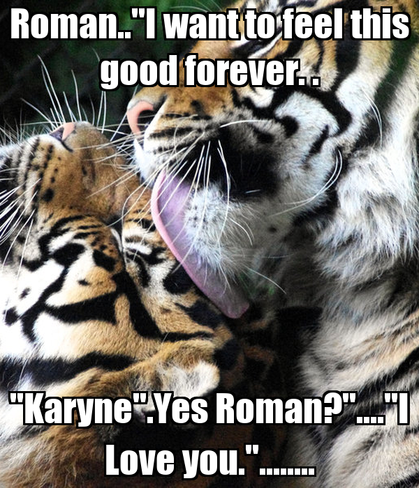 "Roman..""I want to feel this good forever. . ""Karyne"".Yes Roman?""....""I Love you.""........"