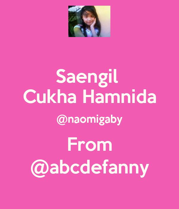 Saengil  Cukha Hamnida @naomigaby From @abcdefanny
