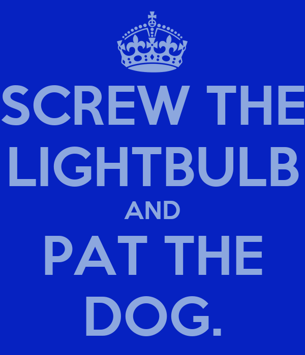 SCREW THE LIGHTBULB AND PAT THE DOG.