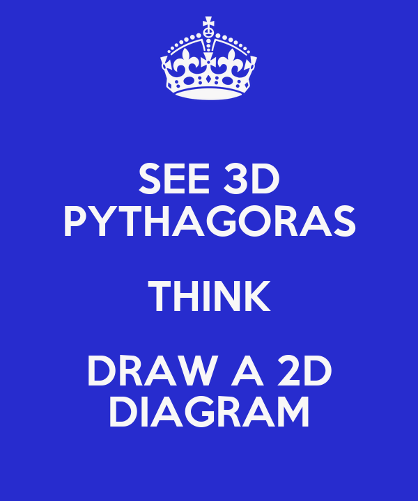 SEE 3D PYTHAGORAS THINK DRAW A 2D DIAGRAM