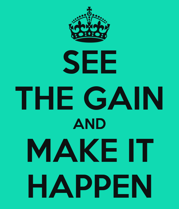 SEE THE GAIN AND MAKE IT HAPPEN