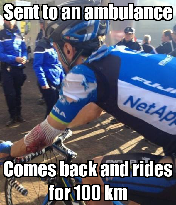 Sent to an ambulance Comes back and rides for 100 km