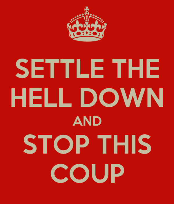 SETTLE THE HELL DOWN AND STOP THIS COUP