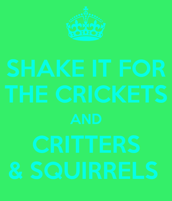 SHAKE IT FOR THE CRICKETS AND CRITTERS & SQUIRRELS