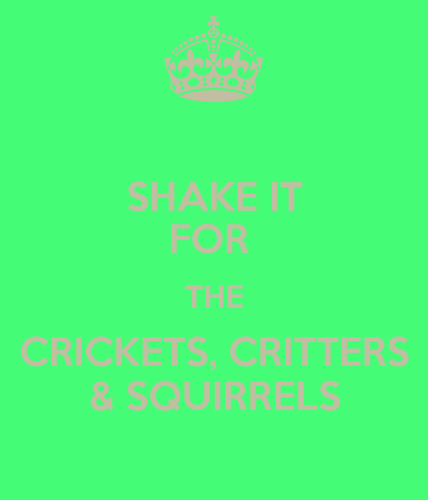 SHAKE IT FOR  THE CRICKETS, CRITTERS & SQUIRRELS