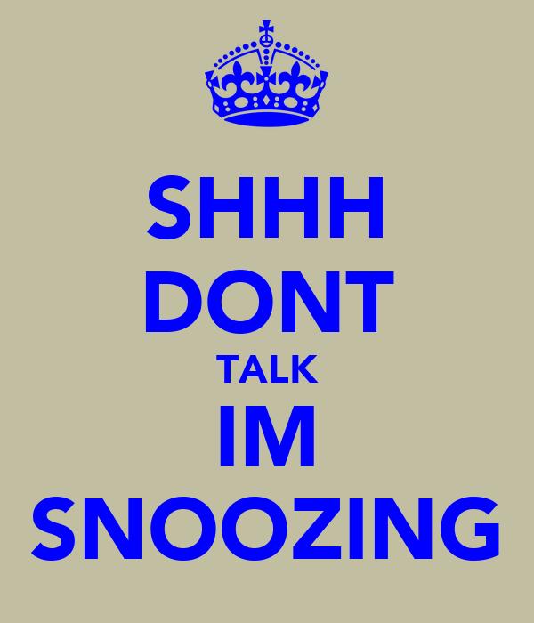 SHHH DONT TALK IM SNOOZING