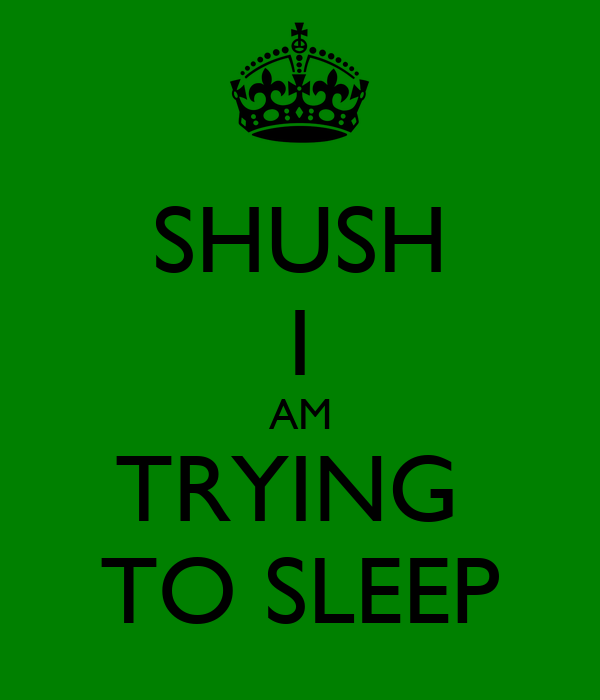 SHUSH I AM TRYING  TO SLEEP