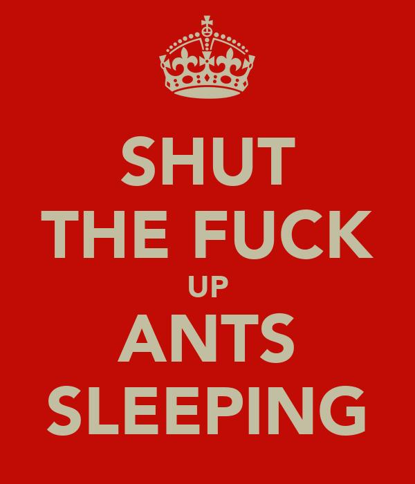 SHUT THE FUCK UP ANTS SLEEPING