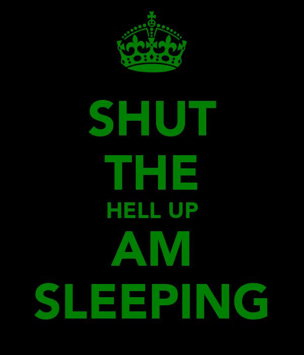 SHUT THE HELL UP AM SLEEPING