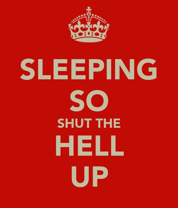 SLEEPING SO SHUT THE HELL UP