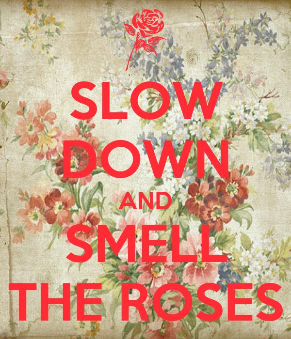 SLOW DOWN AND SMELL THE ROSES